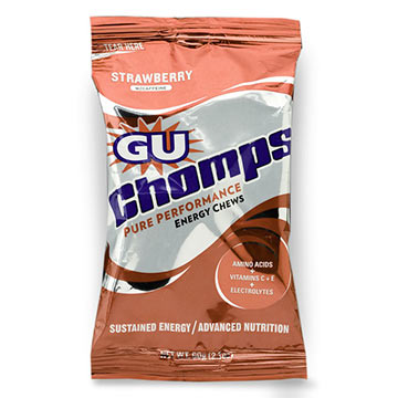 The GU Chomps in Strawberry.