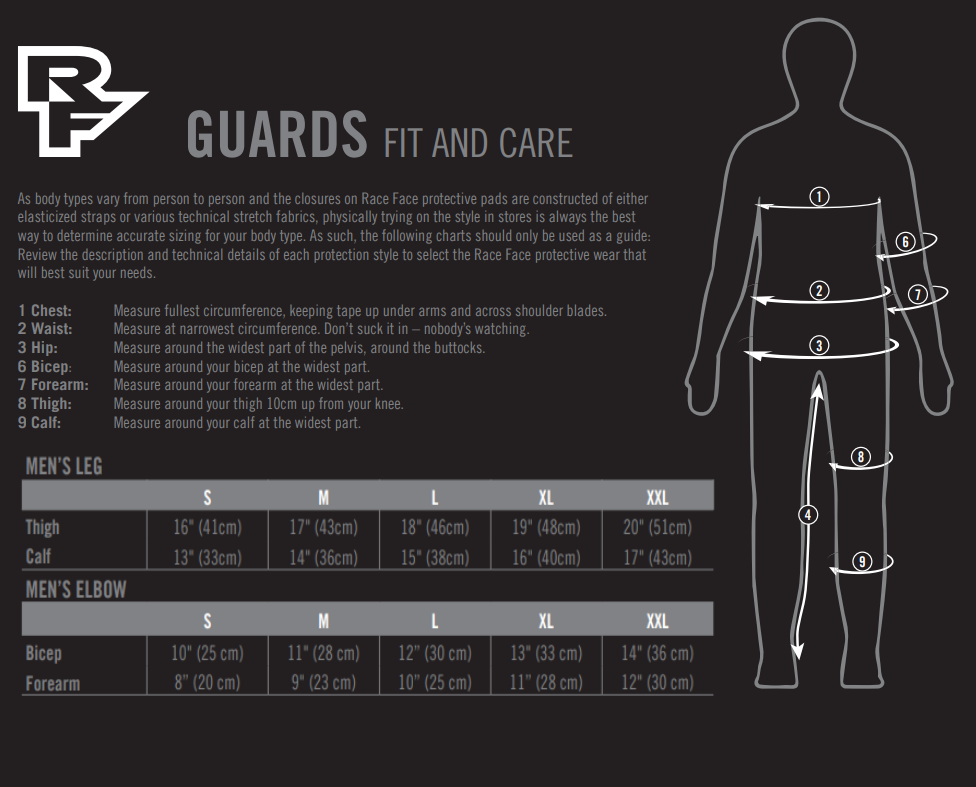 Race Face men's guards sizing chart