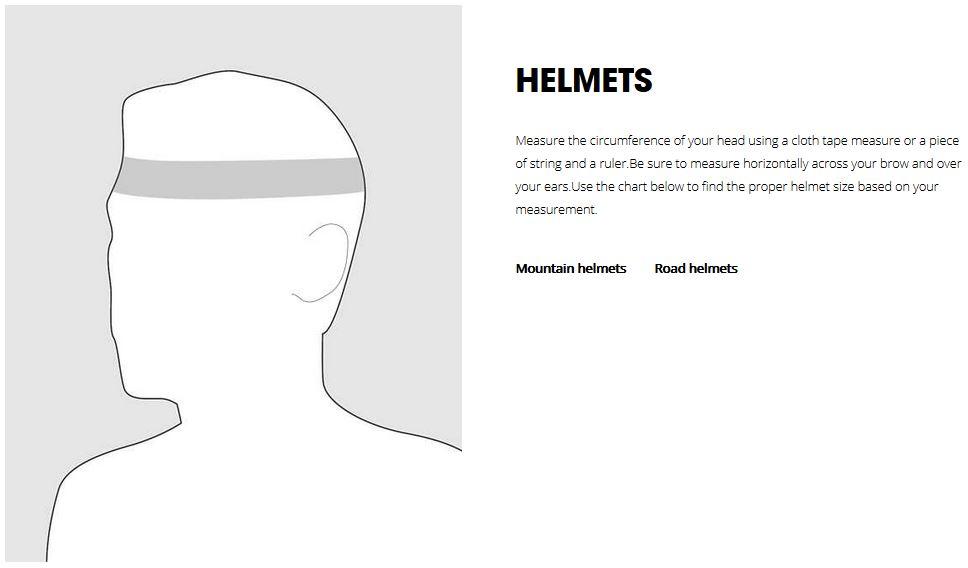 Bontrager Helmet sizing chart