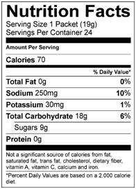 GU Hydration Drink Mix nutritional information