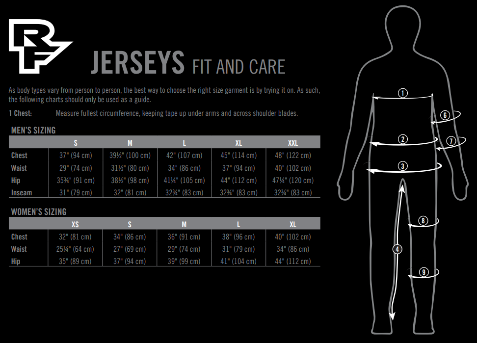 Race Face jerseys sizing chart