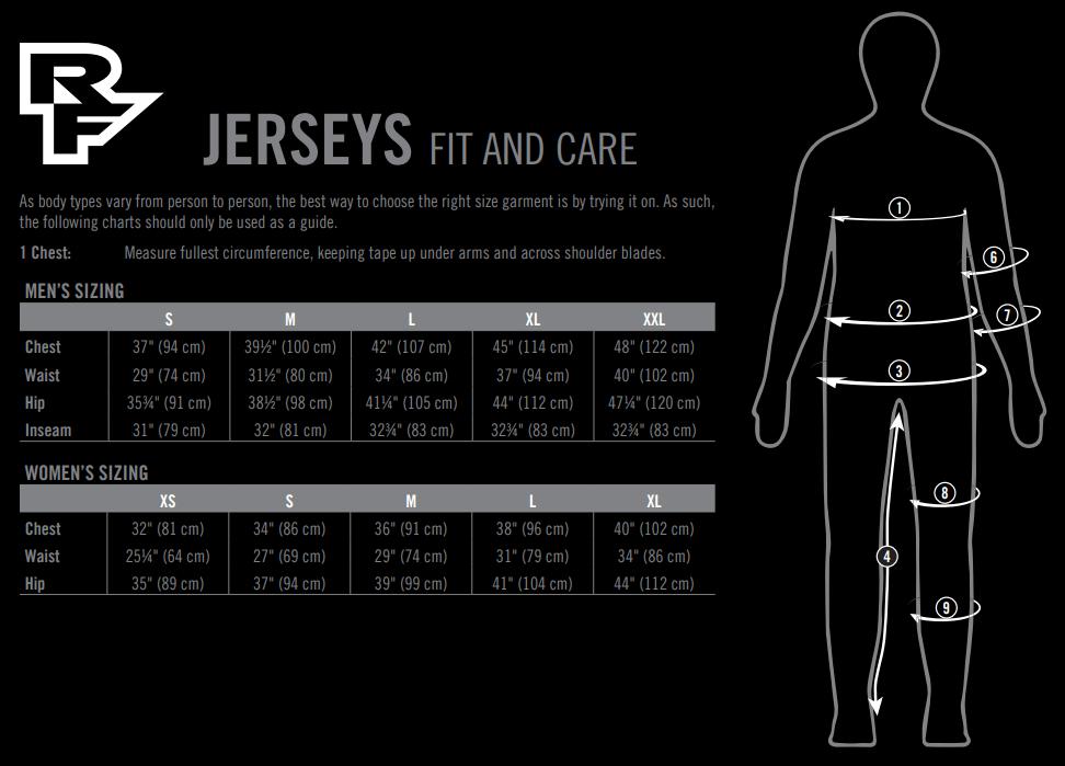 Race Face jerseys sizing chart