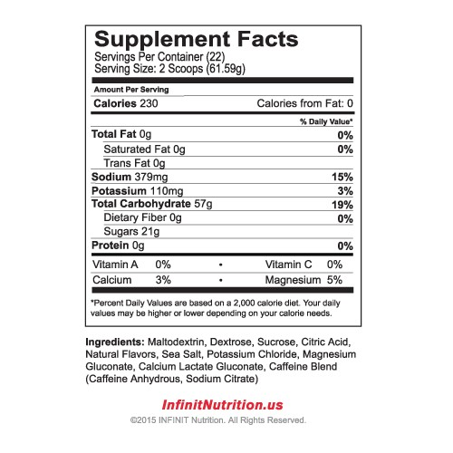 Infinit :Jet Fuel nutritional information