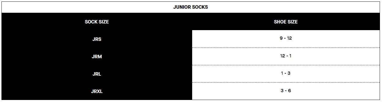 Louis Garneau junior socks sizing chart