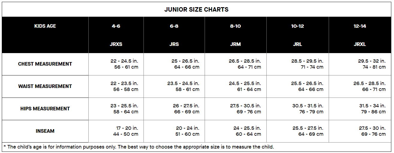 Louis Garneau Junior sizing chart