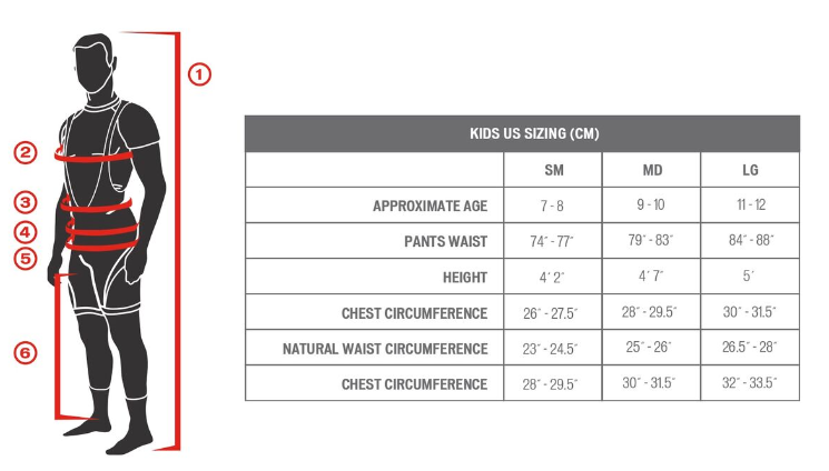 Specialized kids' sizing chart