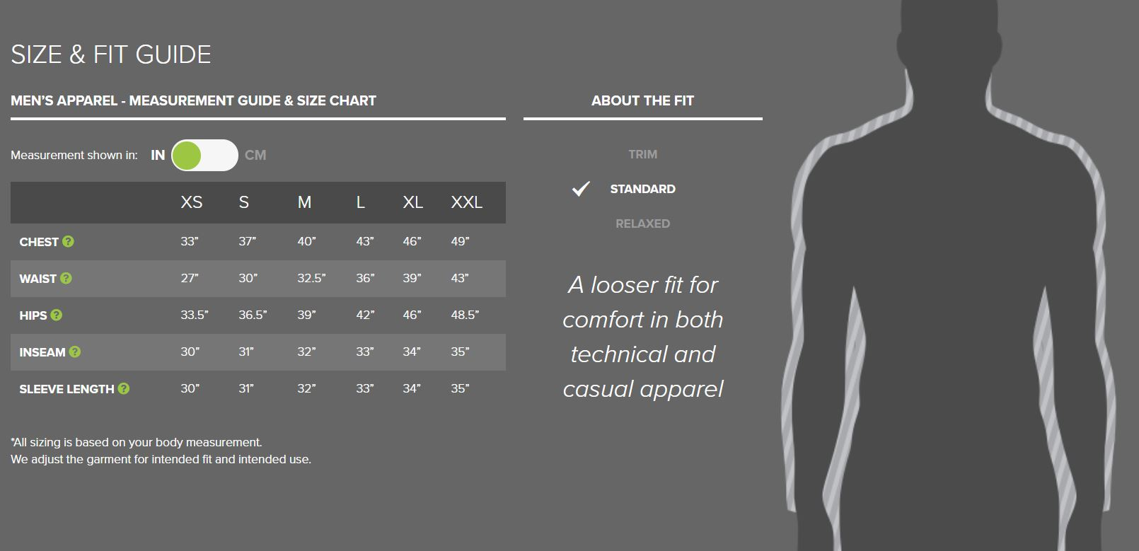 Outdoor Research men's apparel sizing chart