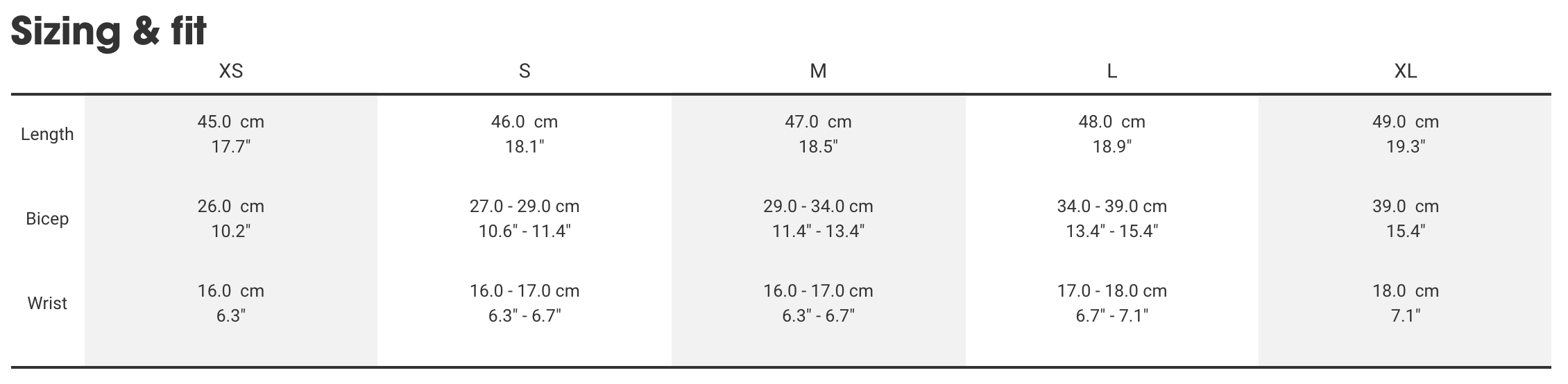 Bontrager arms sizing chart