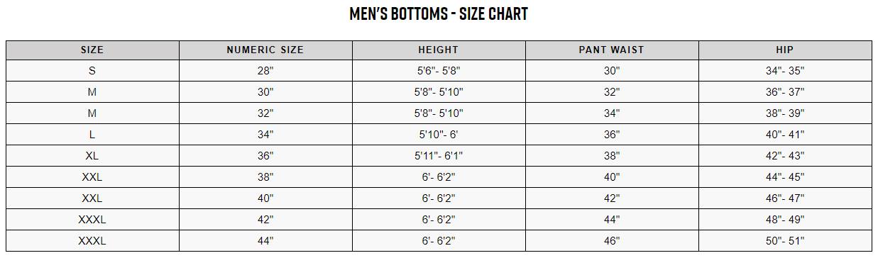 Fox men's bottoms sizing chart