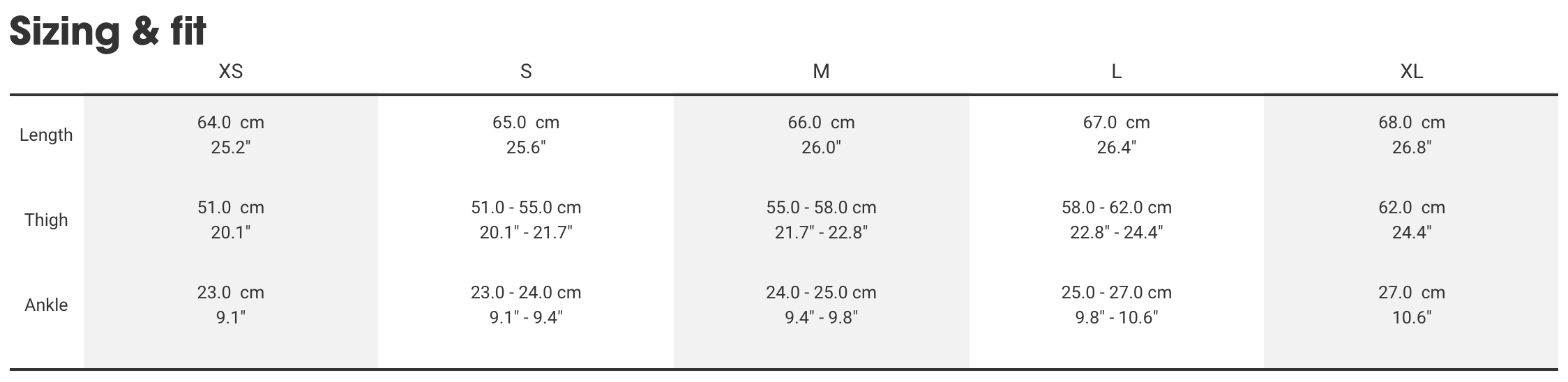 Bontrager men's bottoms sizing chart