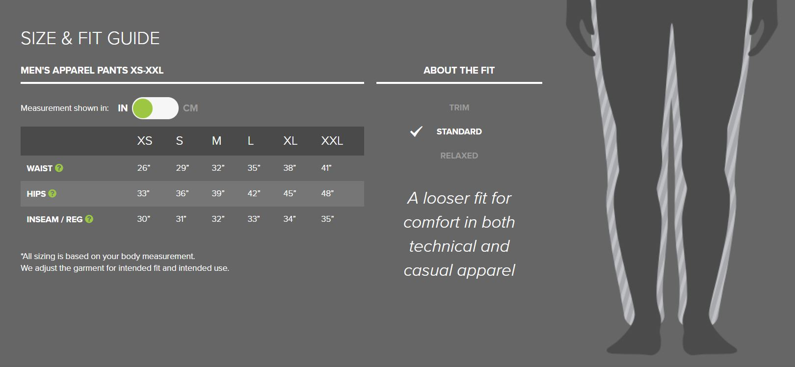 Outdoor Research men's pants sizing chart