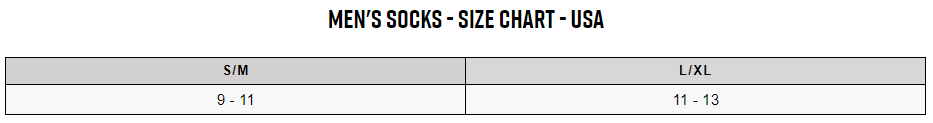 Fox men's socks sizing chart
