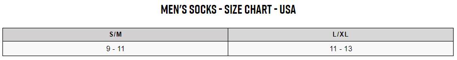 Fox men's socks sizing chart