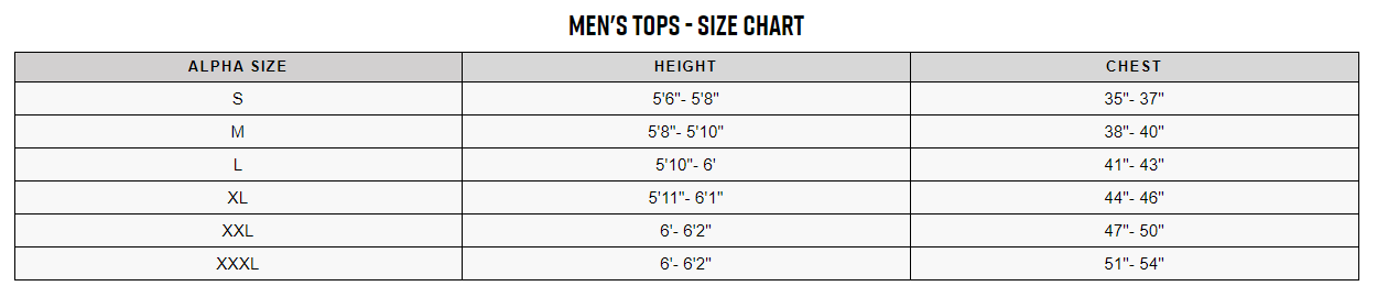 Trek men's tops sizing chart