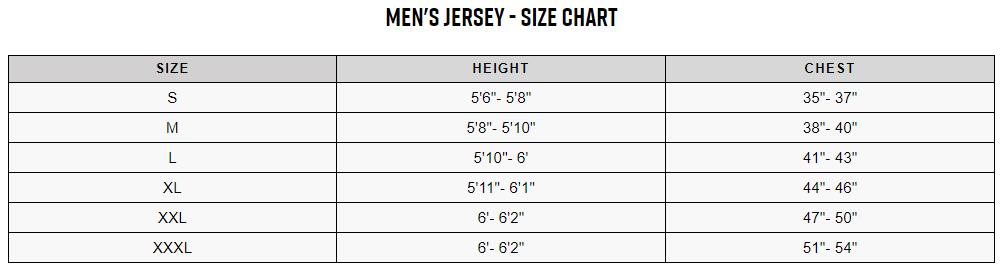 Fox men's tops sizing chart