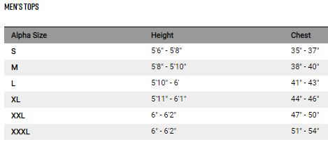 Fox men's tops sizing chart