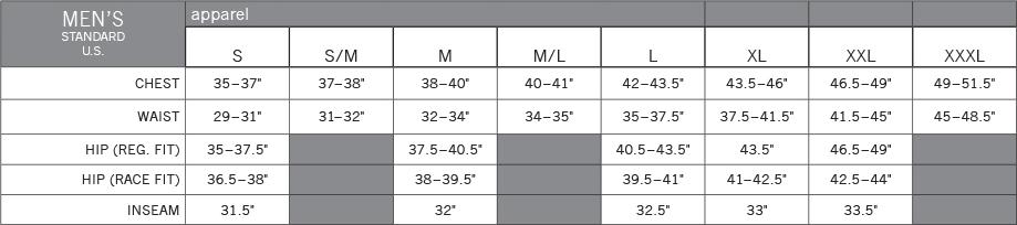 Pearl Izumi Men's Apparel sizing chart