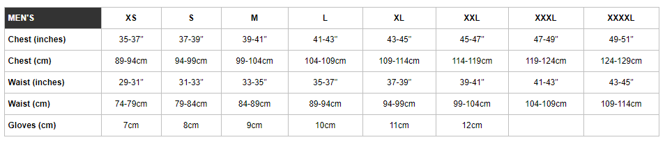 Endura men's sizing chart