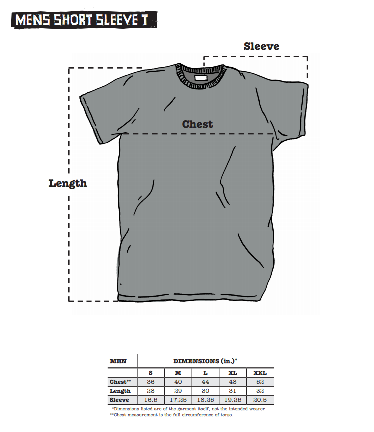 Surly men's apparel sizing chart