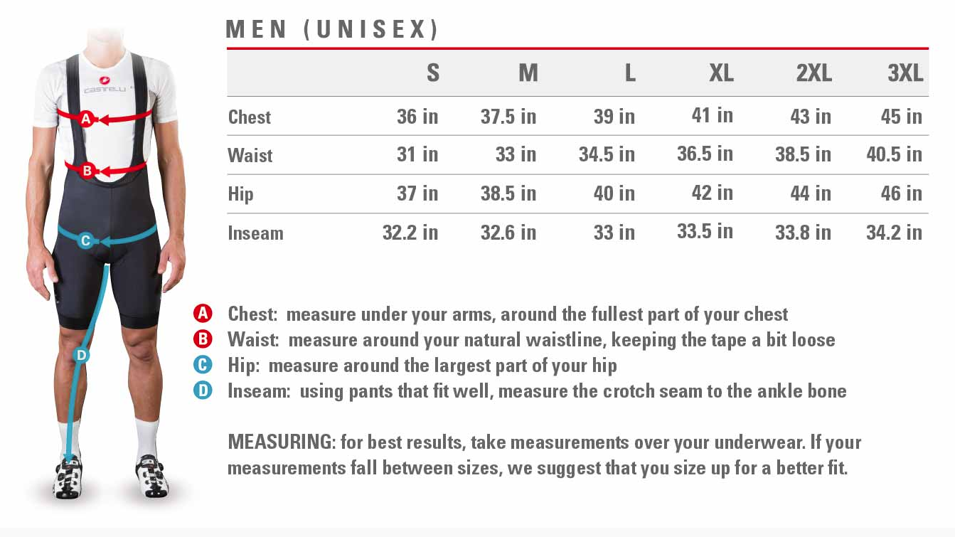 Castelli men's sizing
