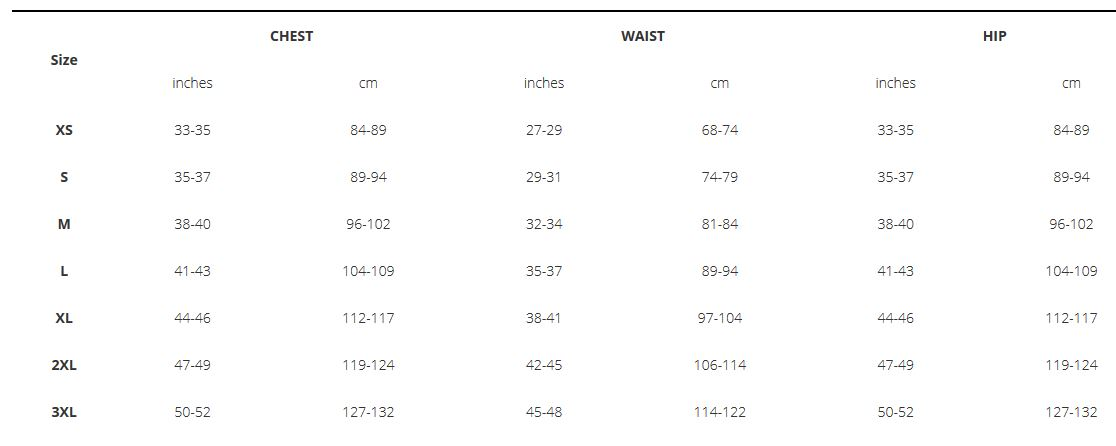 Trek Mens clothing sizing chart