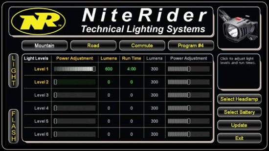 NiteRider D.I.Y. Pro LED software