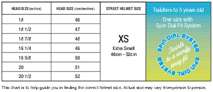Nutcase Kids Sizing Chart
