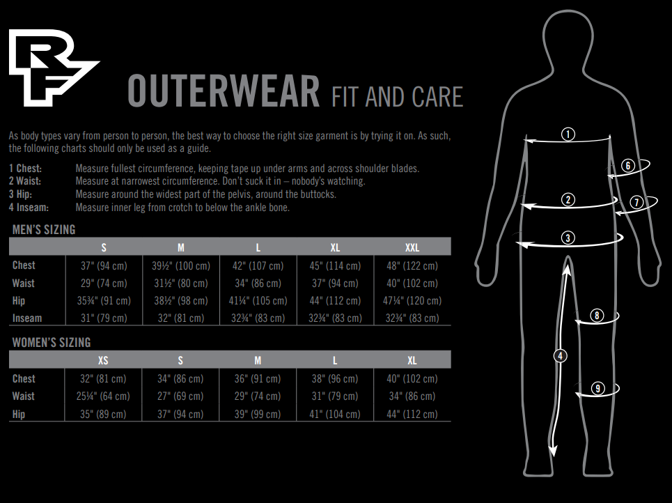 Race Face outerwear sizing chart