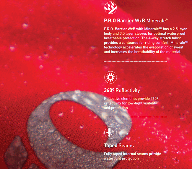 Pearl Izumi's waterproof Barrier fabric.