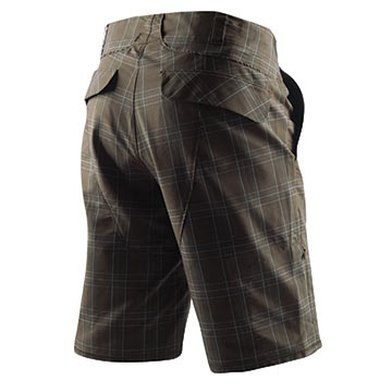 The Launch Shorts in Coffee Plaid.