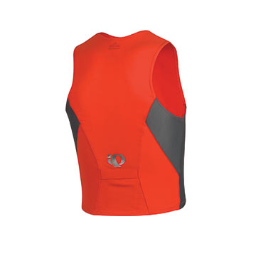The Pearl Elite Singlet in Show Gray/Firey Red.