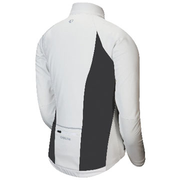 The back of the Pearl Izumi P.R.O. Softshell Full Zip Jersey in White.