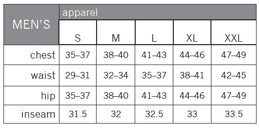 Pearl Izumi Sizing Chart