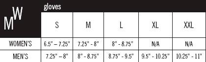 Pearl Izumi glove sizing chart