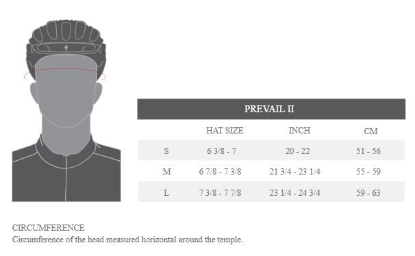 Specialized Prevail II helmet sizing chart