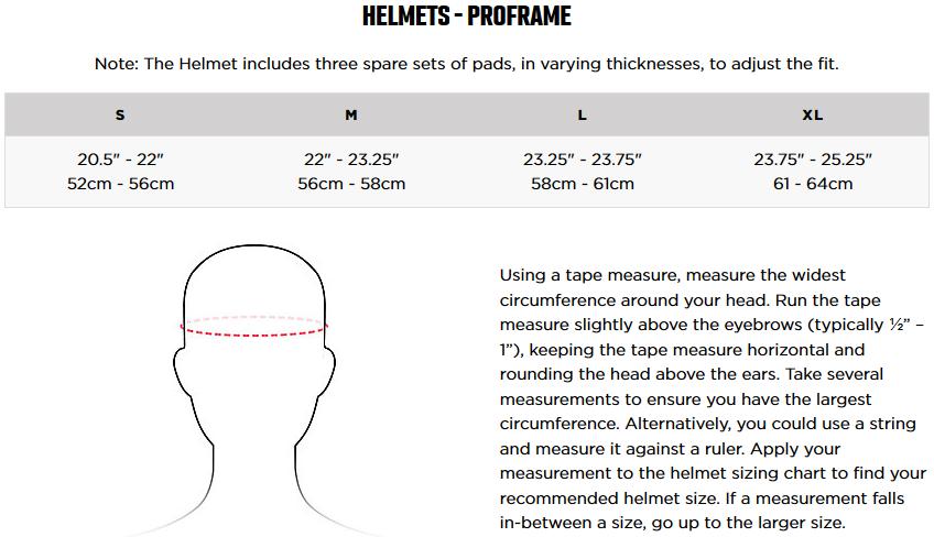 Fox Proframe Helmet Sizing Chart
