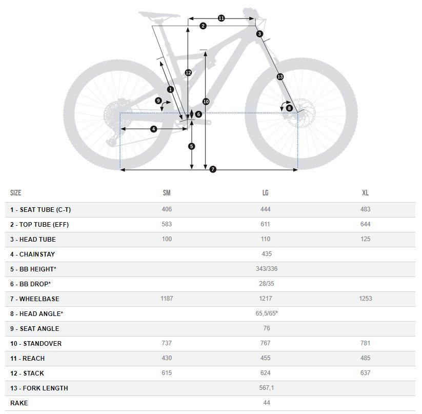 Orbea Rallon+Float X2 geometry chart
