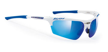 Rudy Project's Noyz in Racing White w/Multilaser Blue lenses. Racing Red lenses (not shown) included.