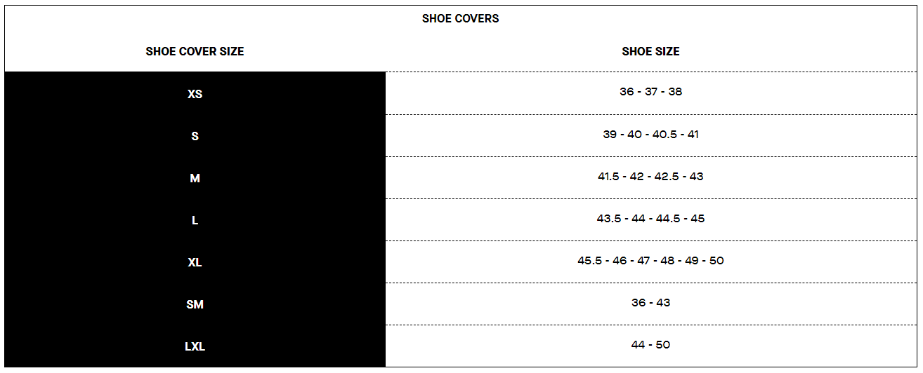 Louis Garneau shoe covers sizing chart