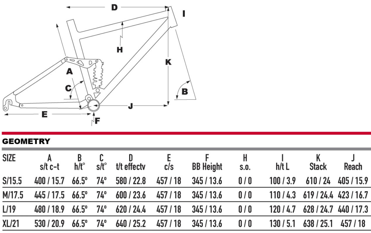 KHS SixFifty 6600+ geometry chart