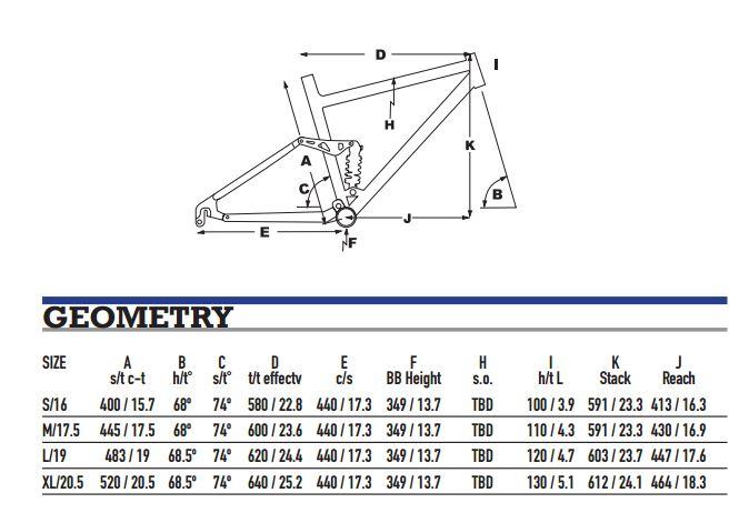 KHS SixFifty 6700C Geometry Chart