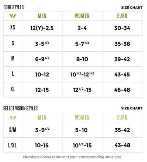 Swiftwick socks sizing chart