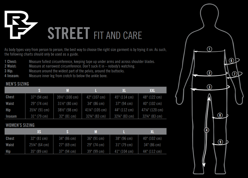 Race Face streetwear sizing chart