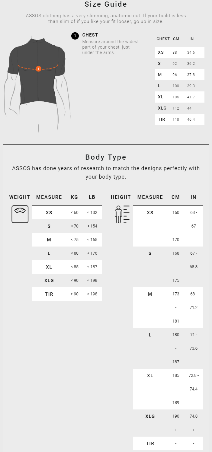 Assos Mens' Tops sizing chart