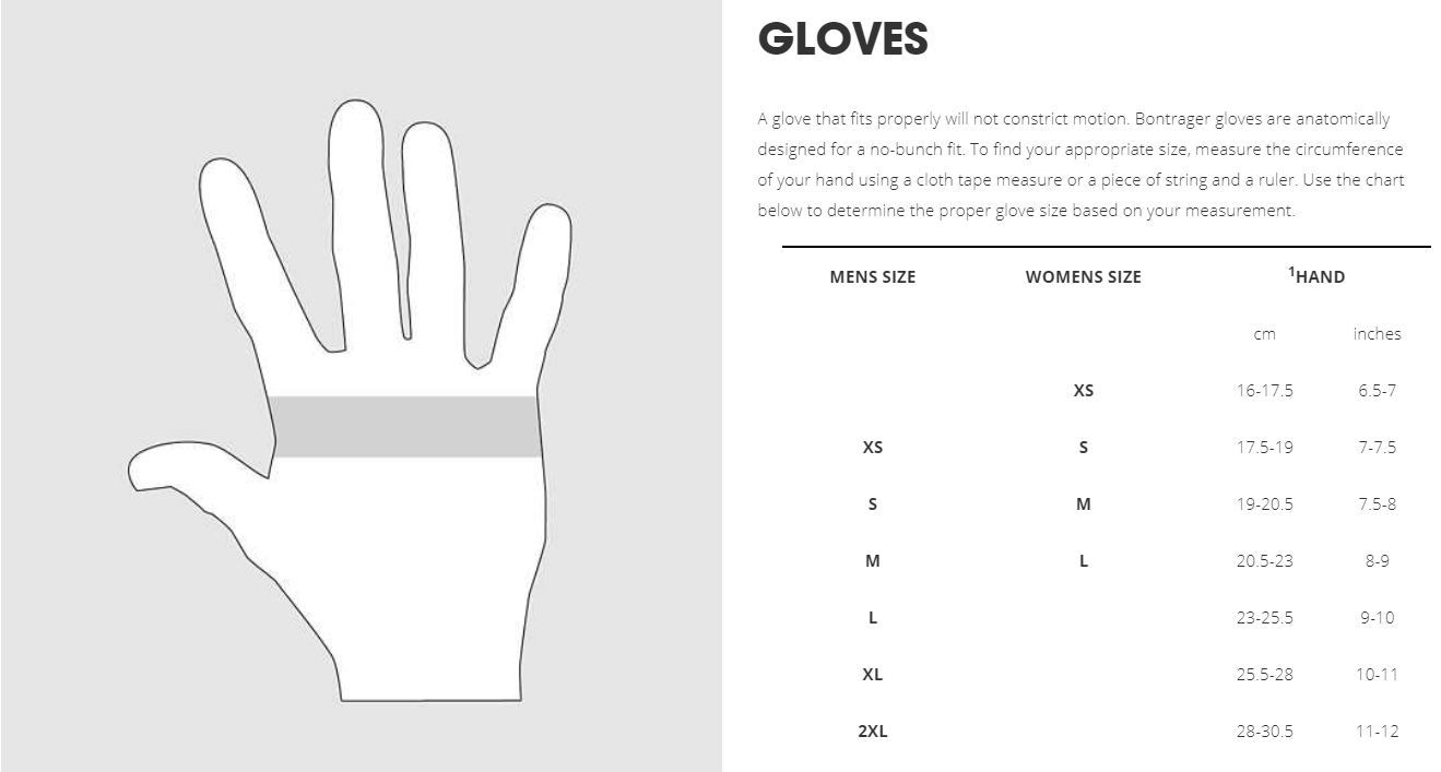 Trek glove sizing chart