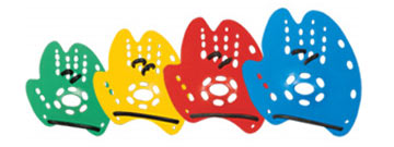Tyr's Mentor Hand Paddles are color coded by size.