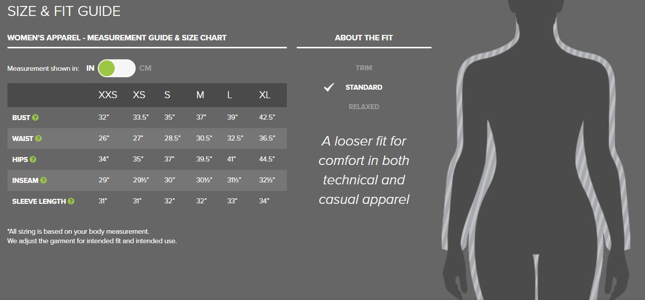 Outdoor Research women's apparel sizing chart