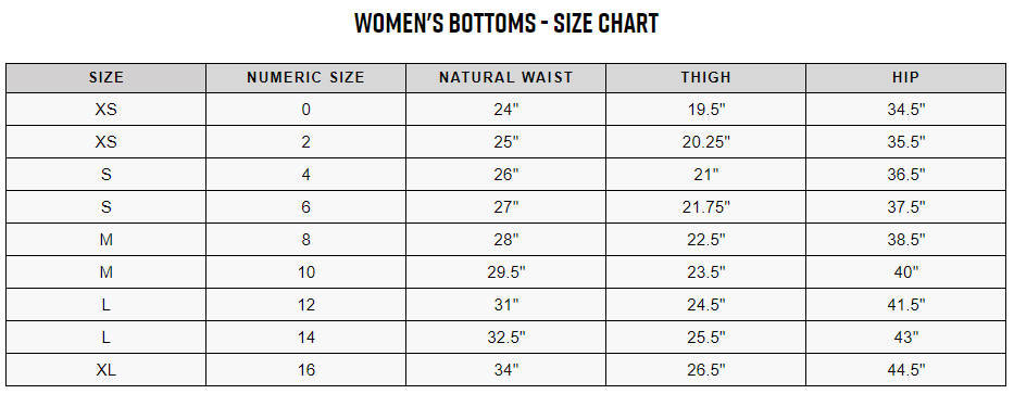 Fox women's bottoms sizing chart