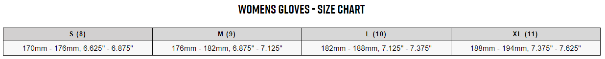 Fox women's gloves sizing chart