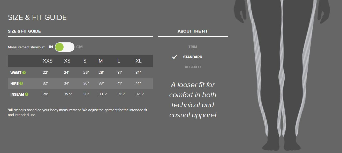 Outdoor Research women's pants sizing chart
